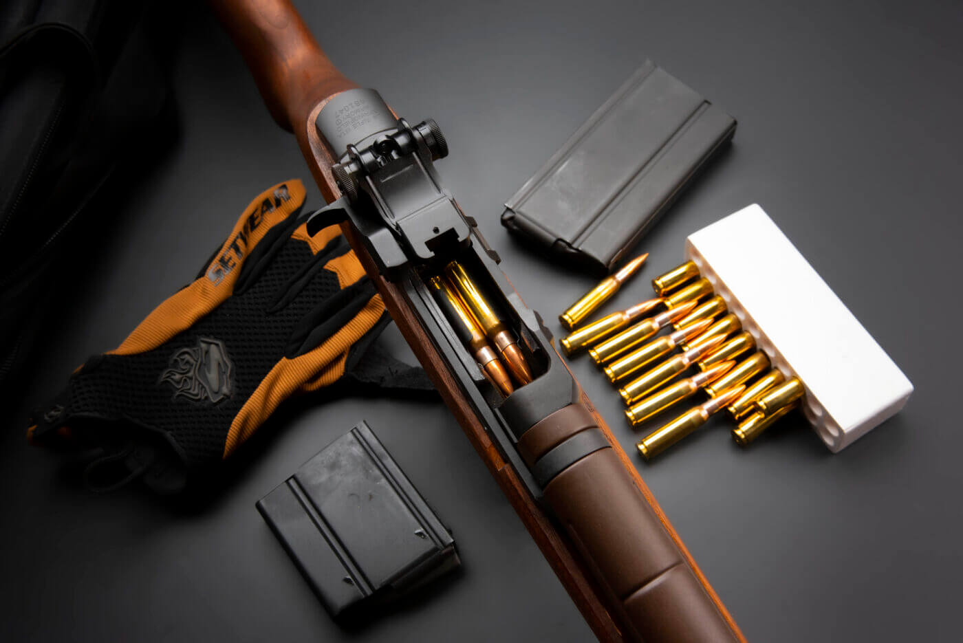 Springfield Armory M1A rifle with ammo