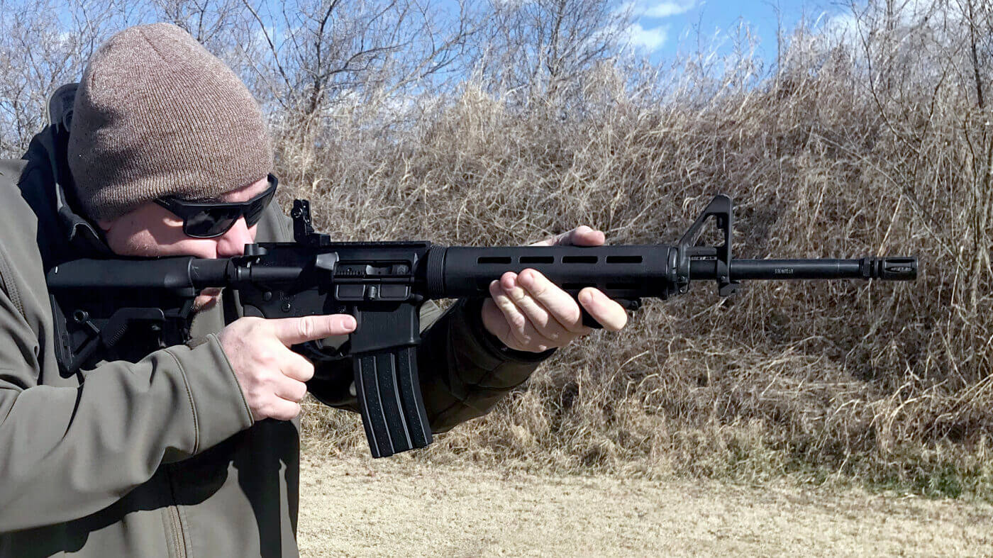 Springfield SAINT rifle with Viridian HS1 laser installed
