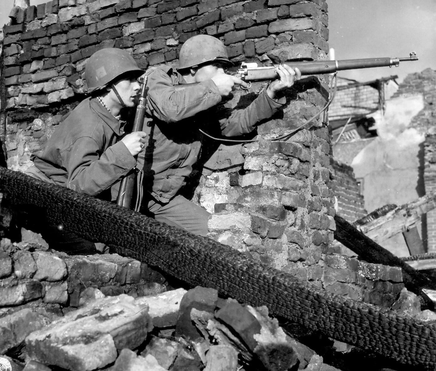 Dutch army soldier shooting M1917 rifle