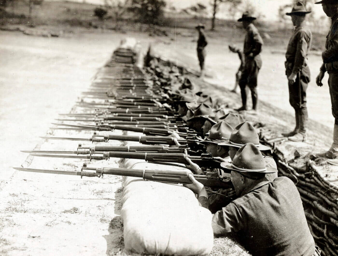 Soldiers at Camp Meade in rifle training