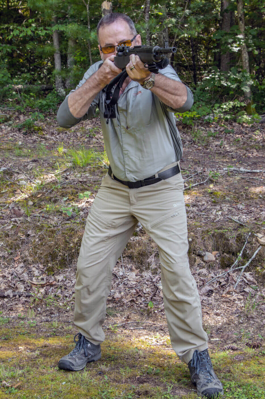 Demonstrating the proper standing rifle shooting position