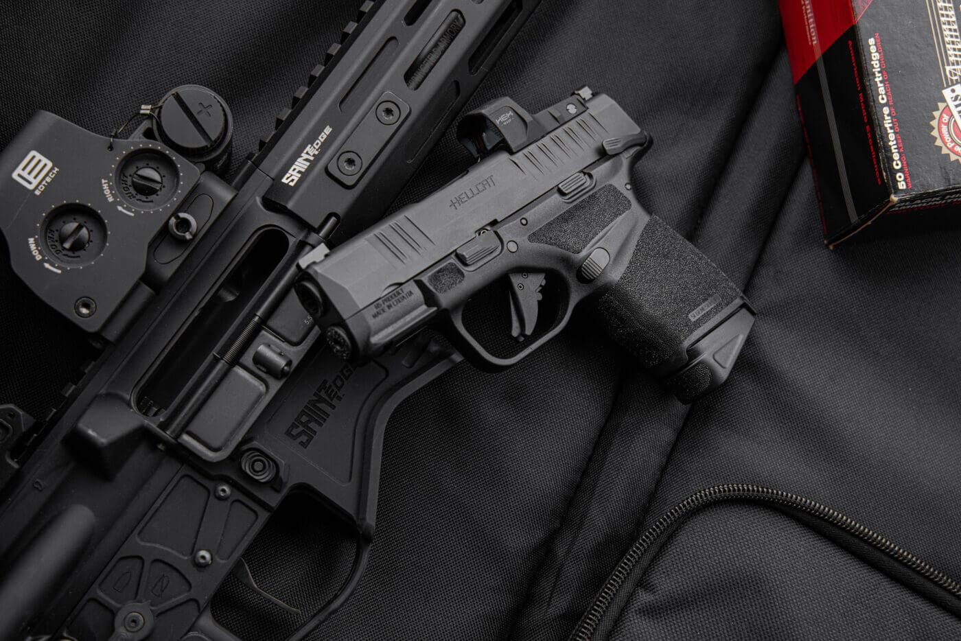 Hellcat handgun with black SAINT Edge rifle