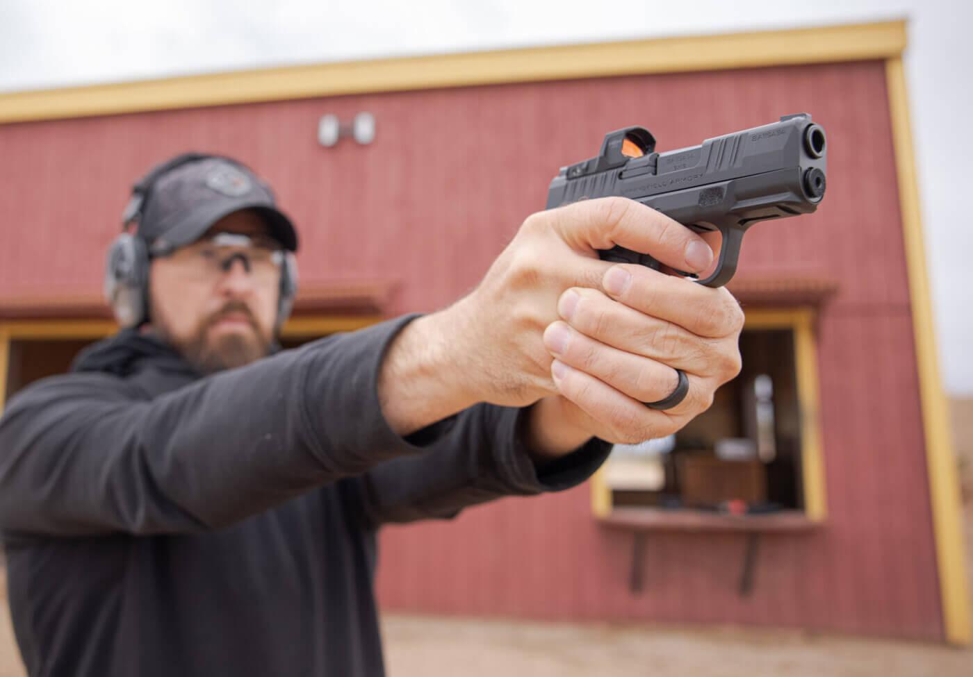 Man training with a Springfield Hellcat handgun