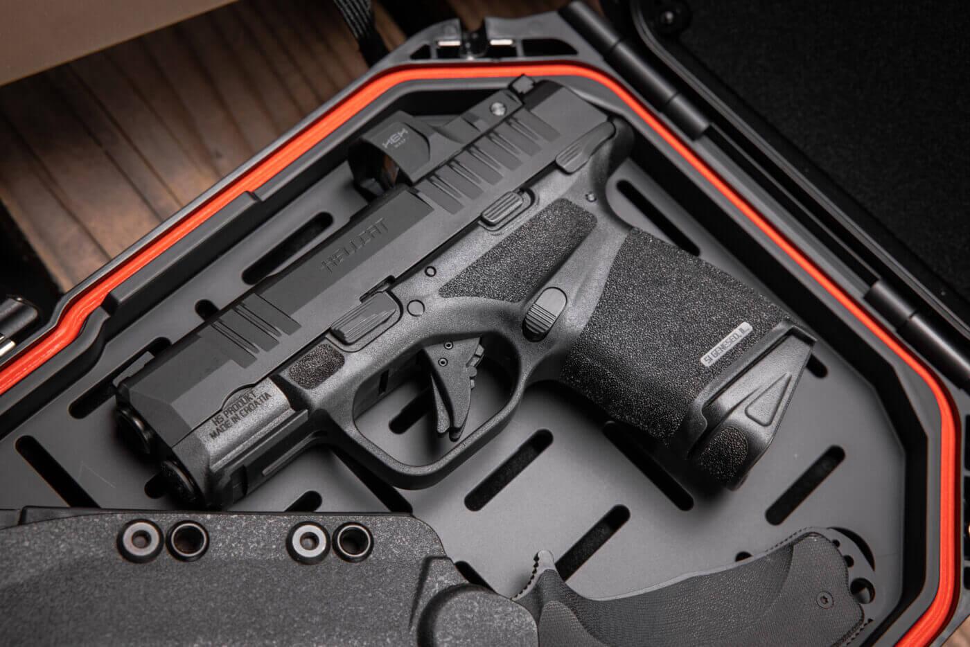 Springfield Hellcat pistol inside of a lockbox