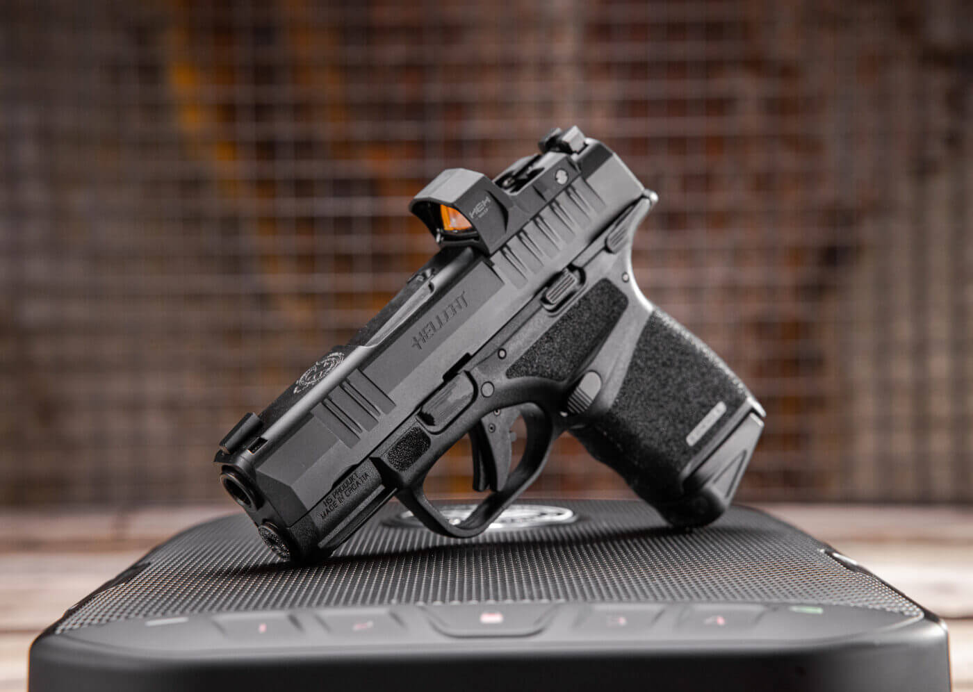 Hellcat pistol for EDC in 9mm with HEX Wasp optic mounted