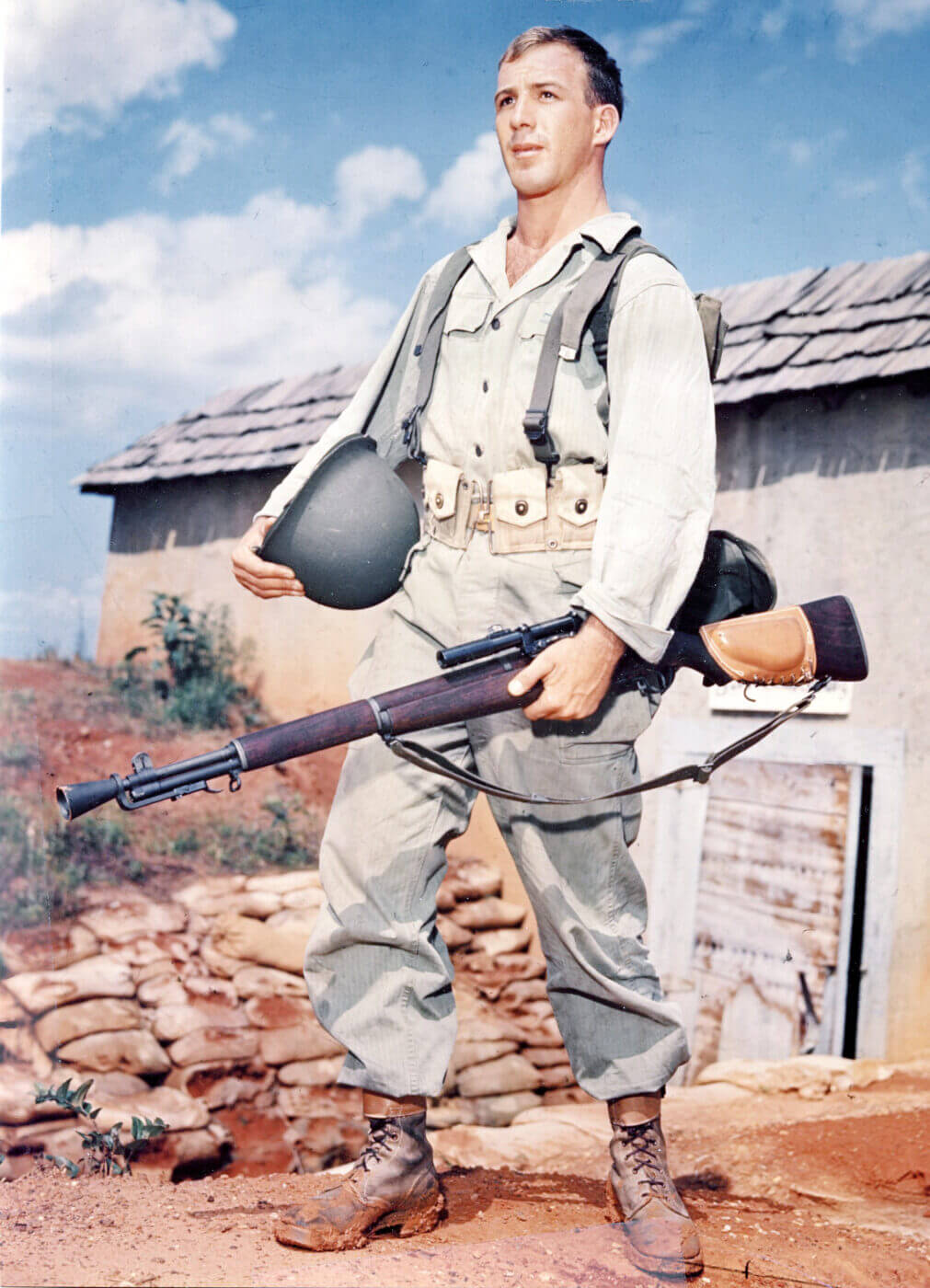 US sniper with M1C rifle in WWII