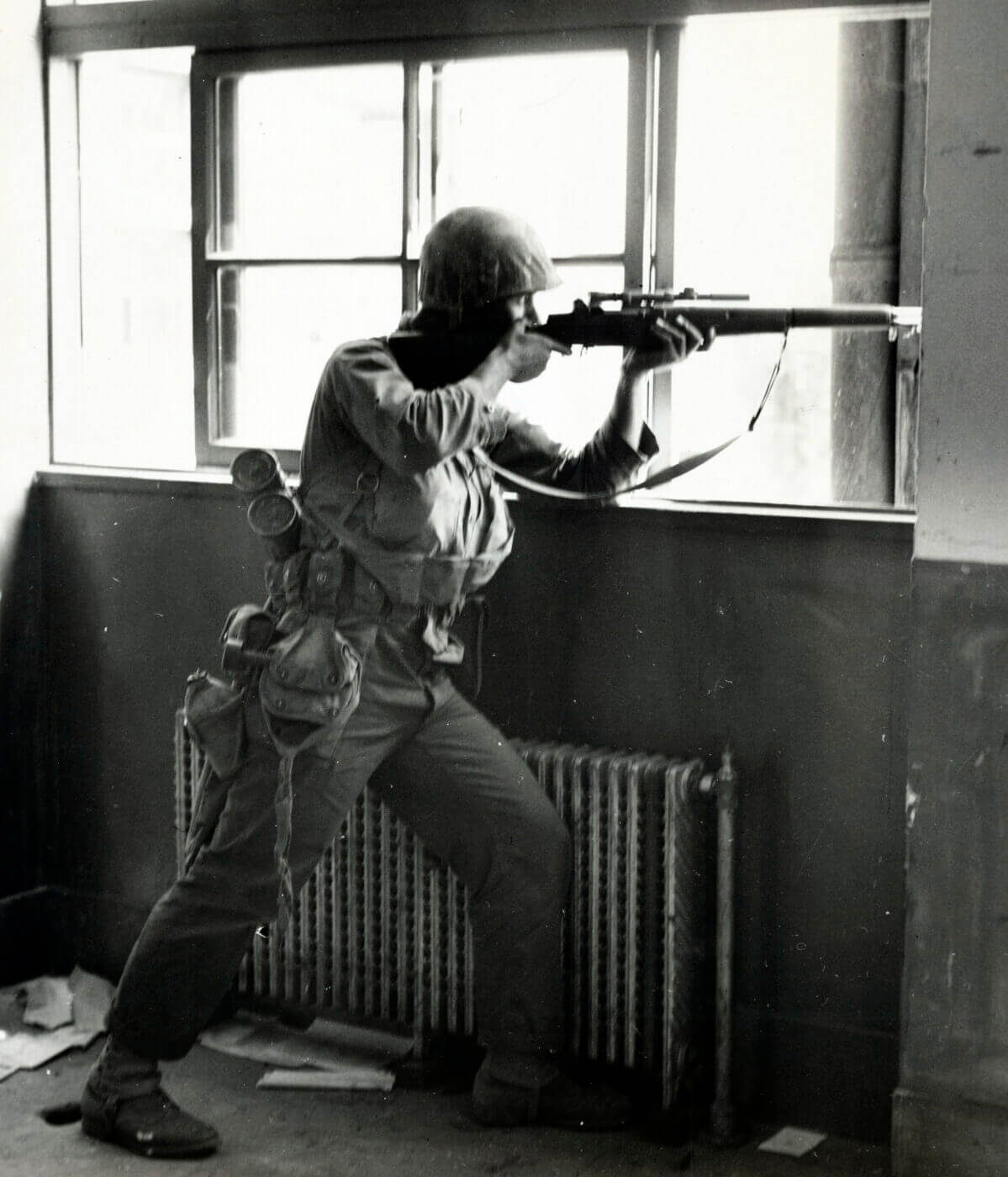 U.S. Marine sniper with M1C in Korean War