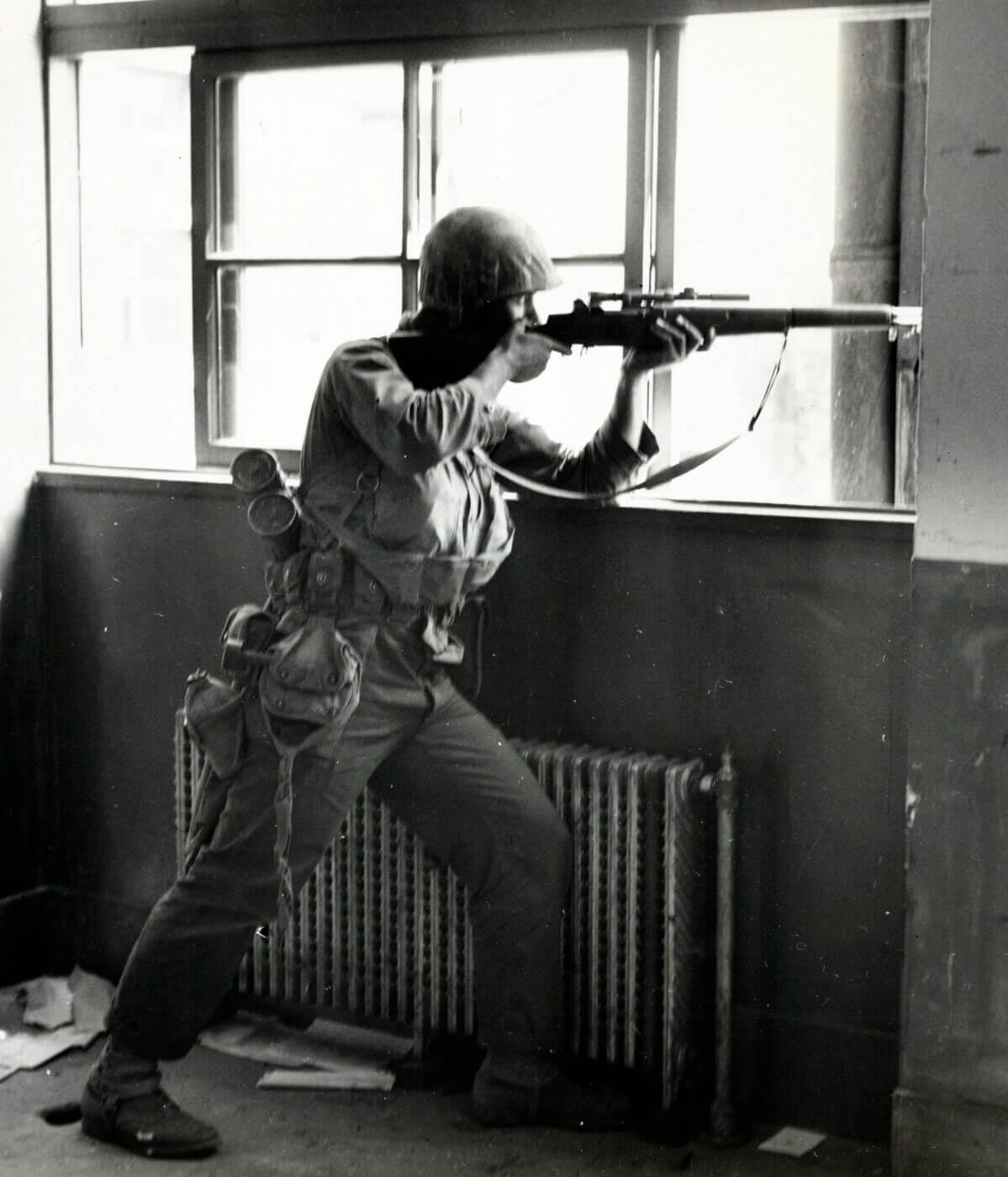 U.S. Marine sniper with M1C in Korean War