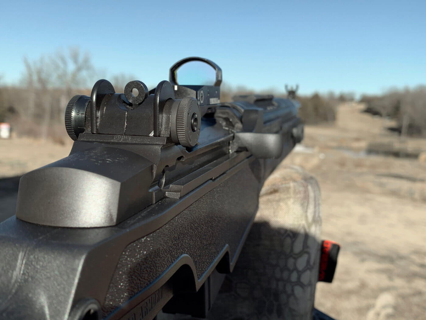 Red dot sight mounted on M1A SOCOM 16 CQB