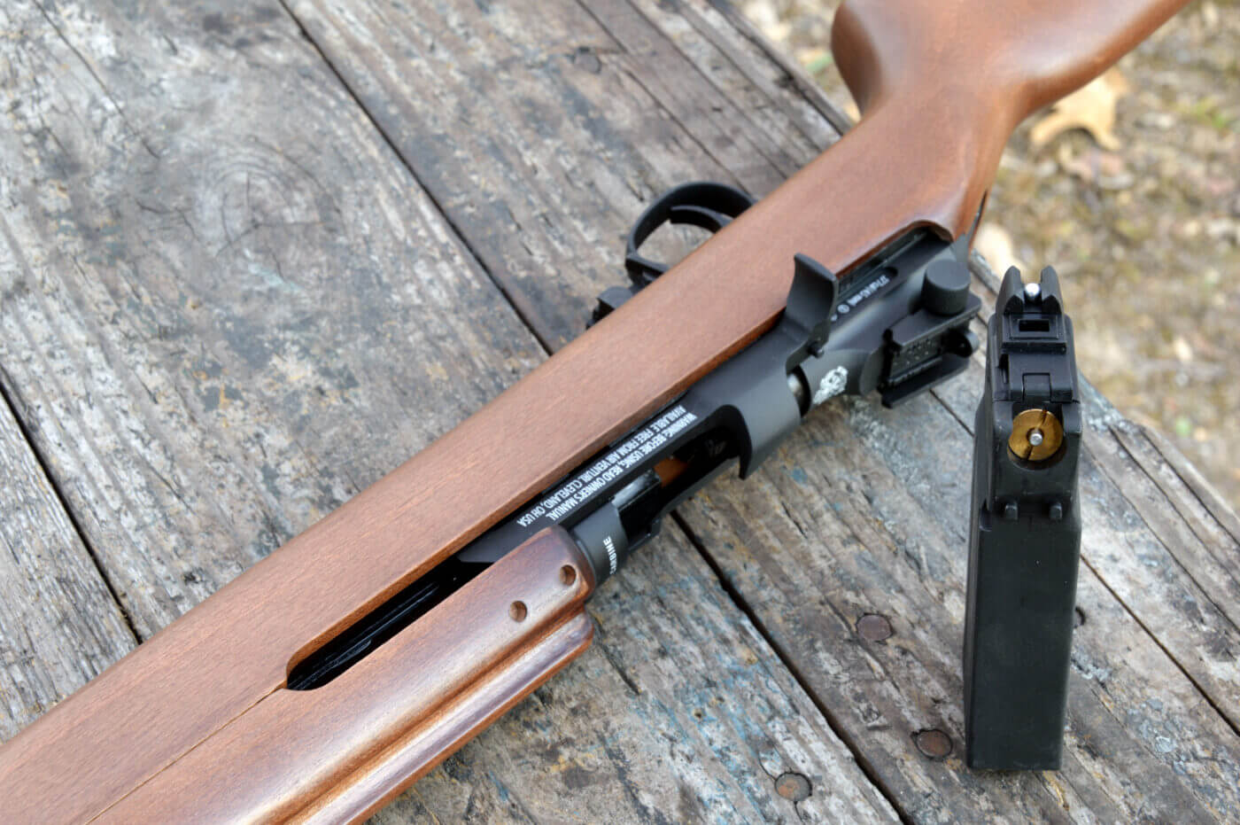Open action of the M1 Carbine BB gun