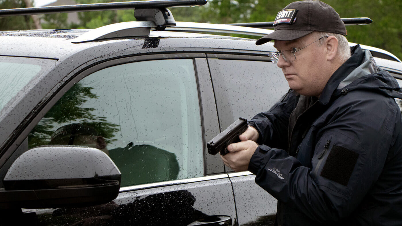 Springfield XD pistol outside a vehicle