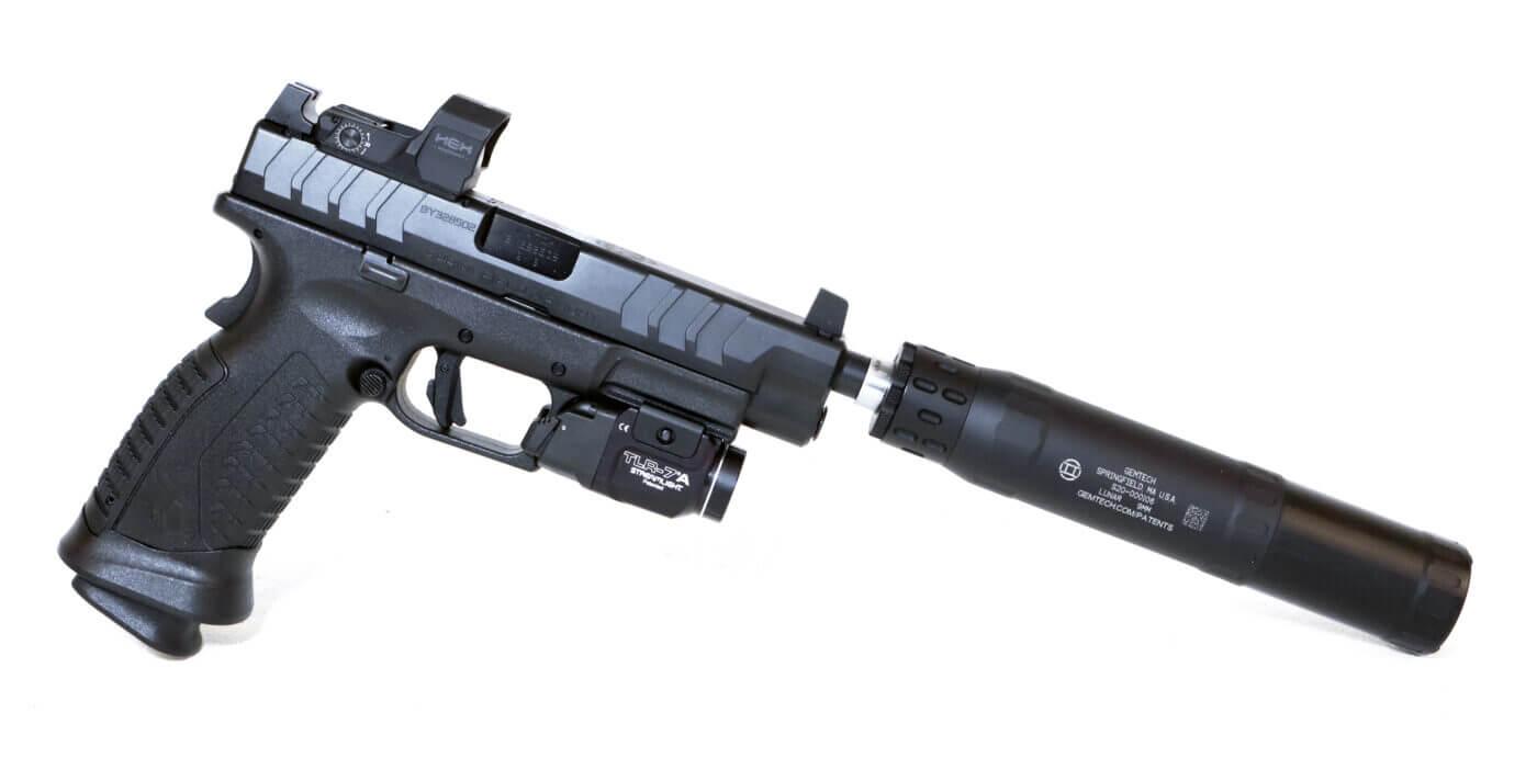 Hellcat pistol with suppressor