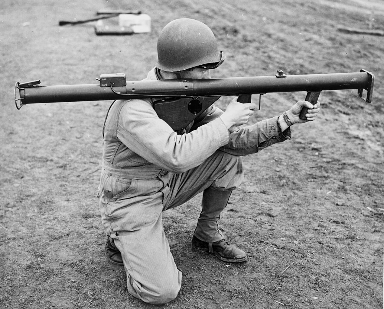 U.S. soldier firing a bazooka