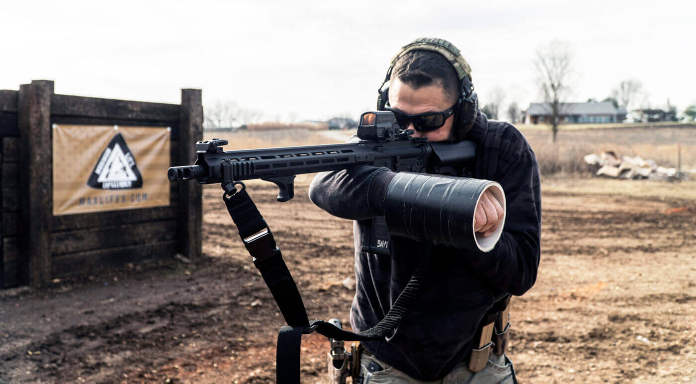 Running an AR-15 rifle with weak hand only