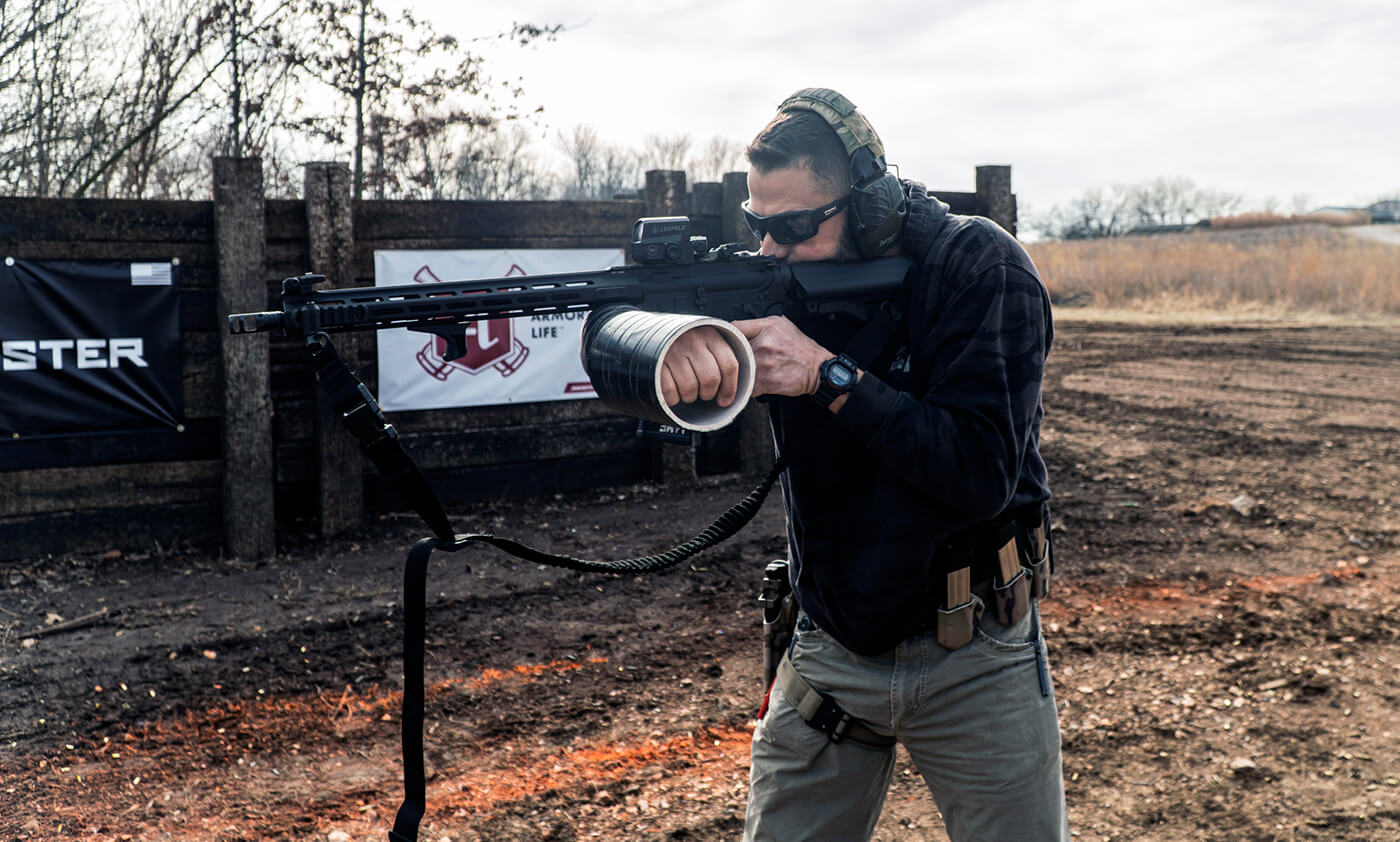 Training to shoot AR-15 with one hand