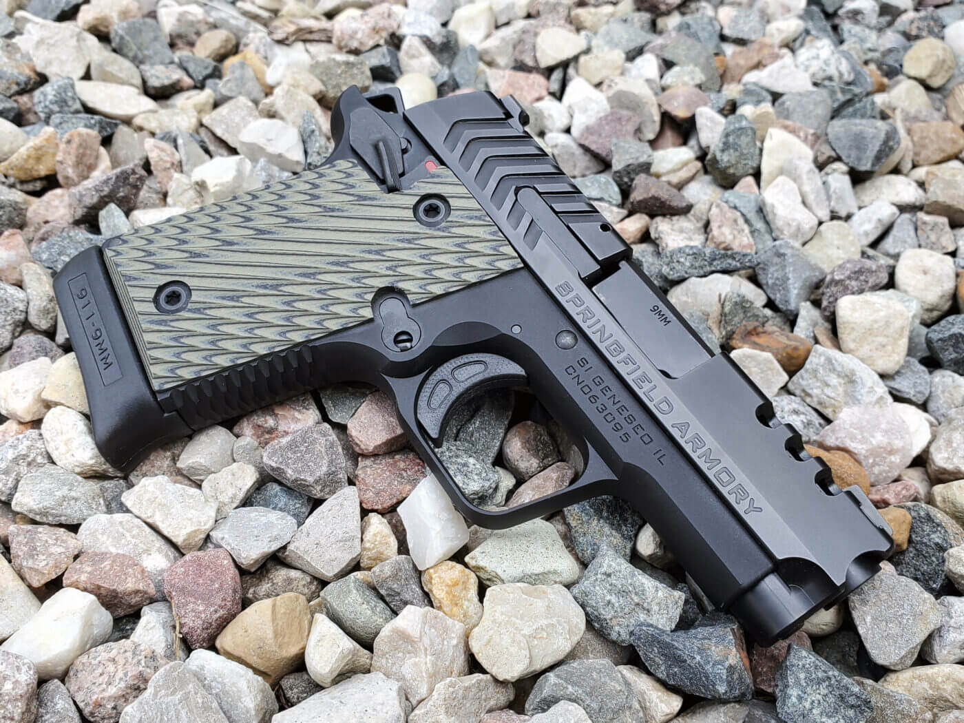Side view of Continuous Precision work to Springfield 911 pistol