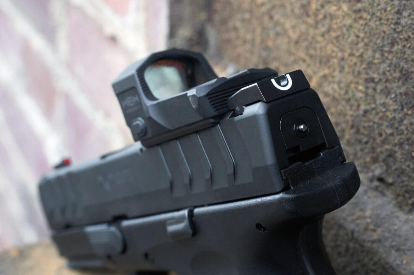 "U-notch sight on XD-M Elite Compact 3.8"" OSP pistol"