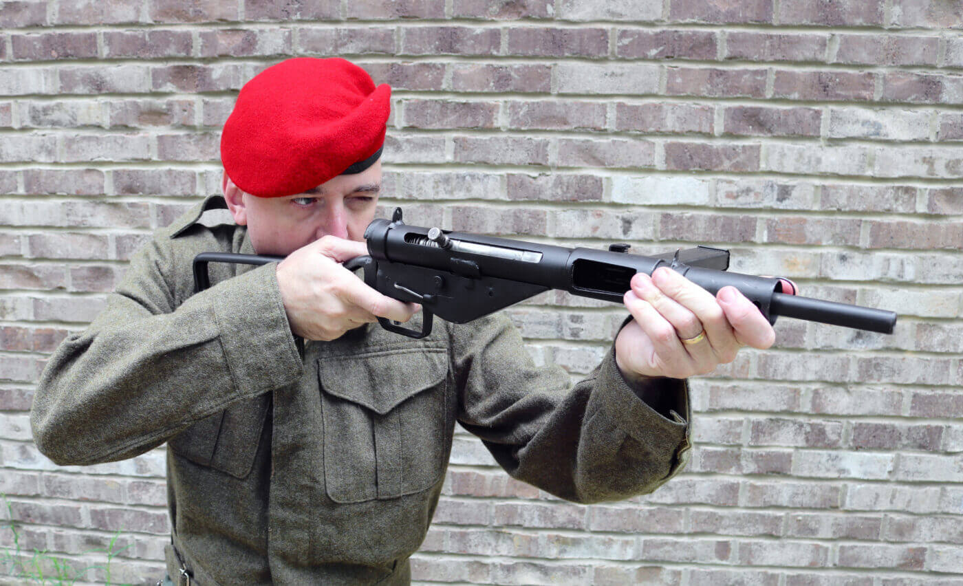 British paratrooper with a Sten SMG