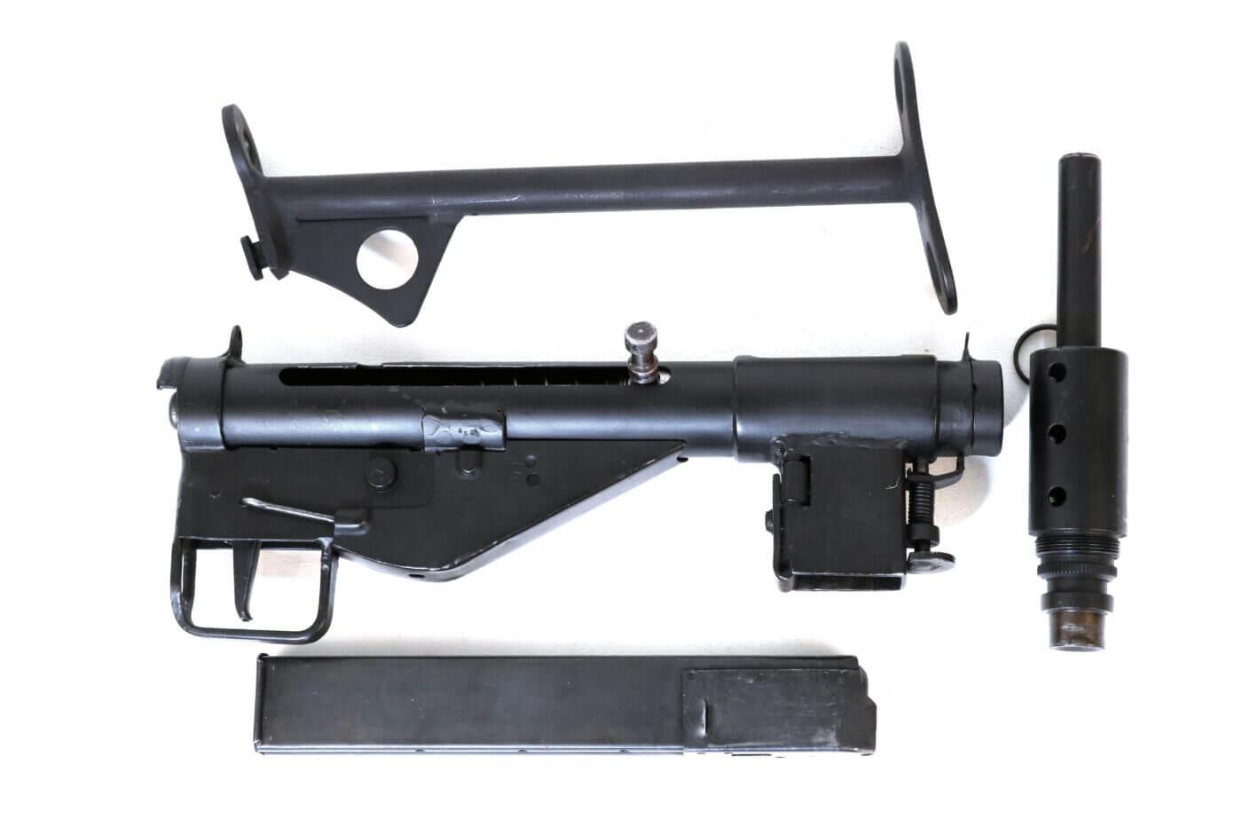 Field stripped Sten gun