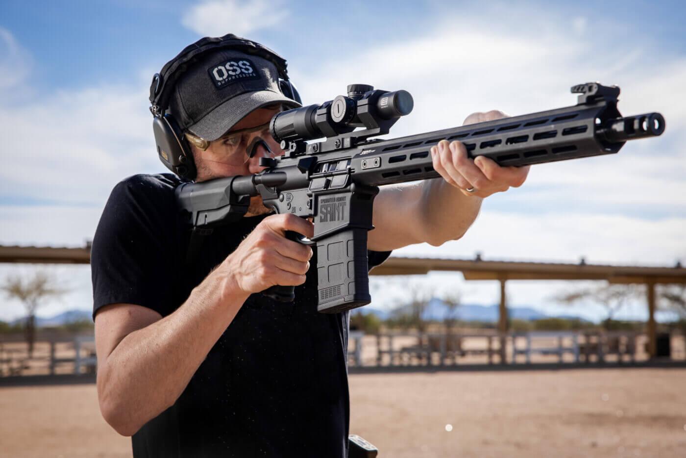 SAINT .308 rifle on the range