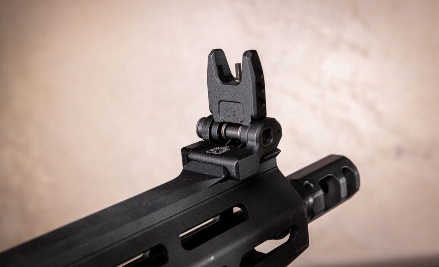 Flip up front sight on SAINT Victor rifle