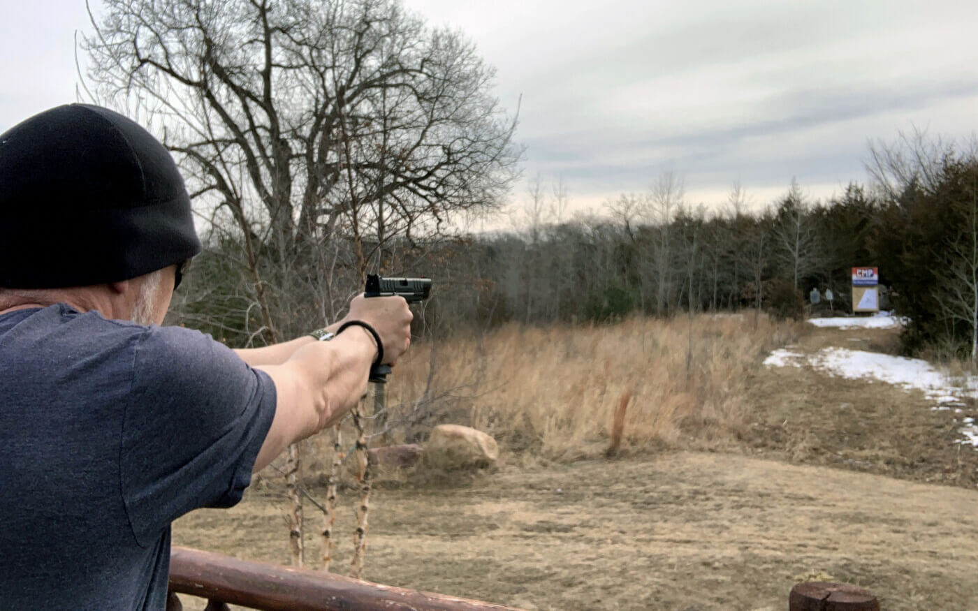 Shooting a handgun at 50 yards