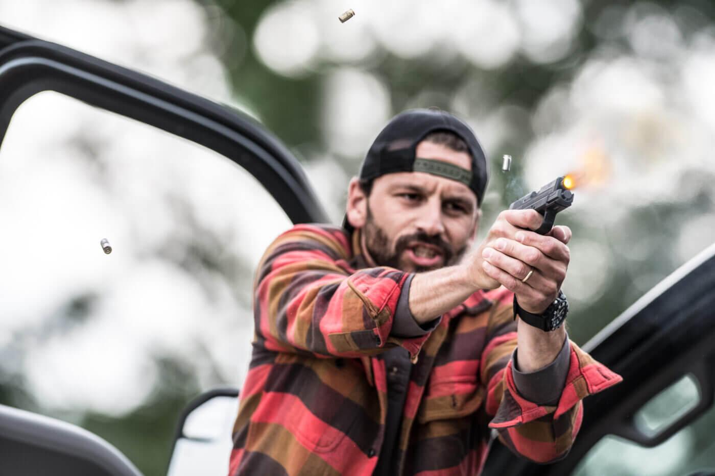 Man shooting pistol