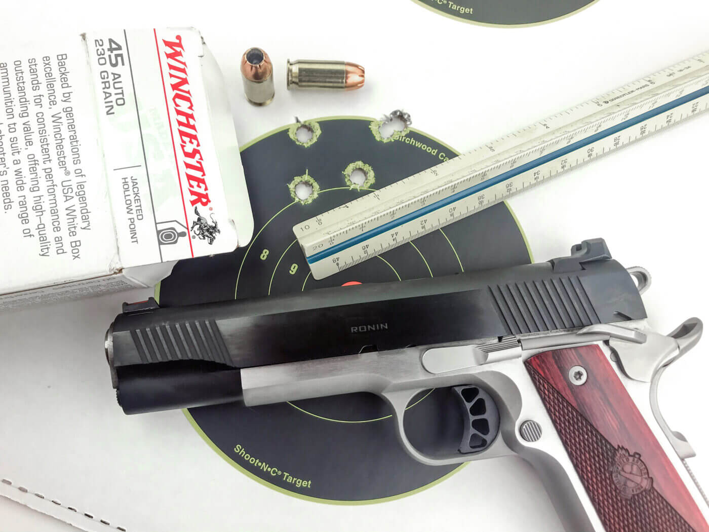 Ronin pistol with ammo and target