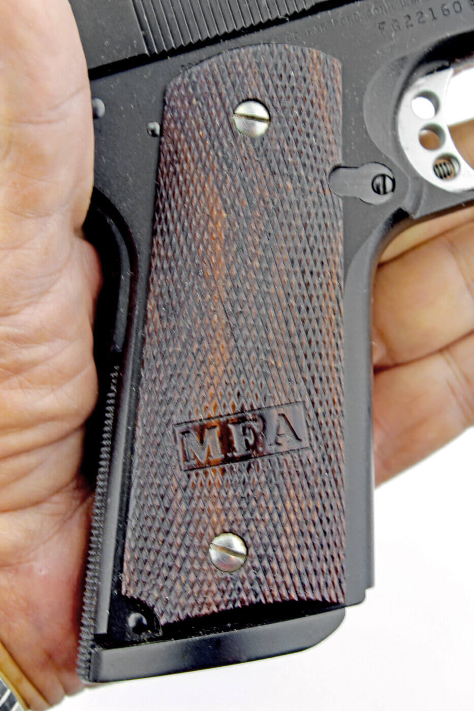 Initials on gun grips