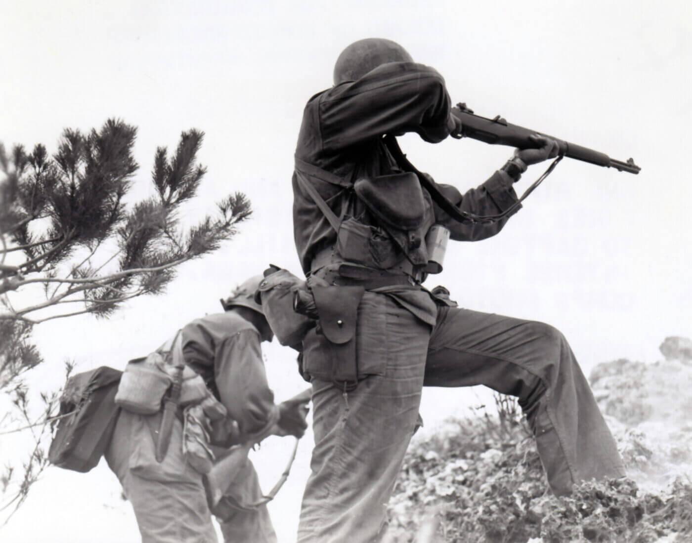 US Marine on Okinawa shooting a M1 Garand