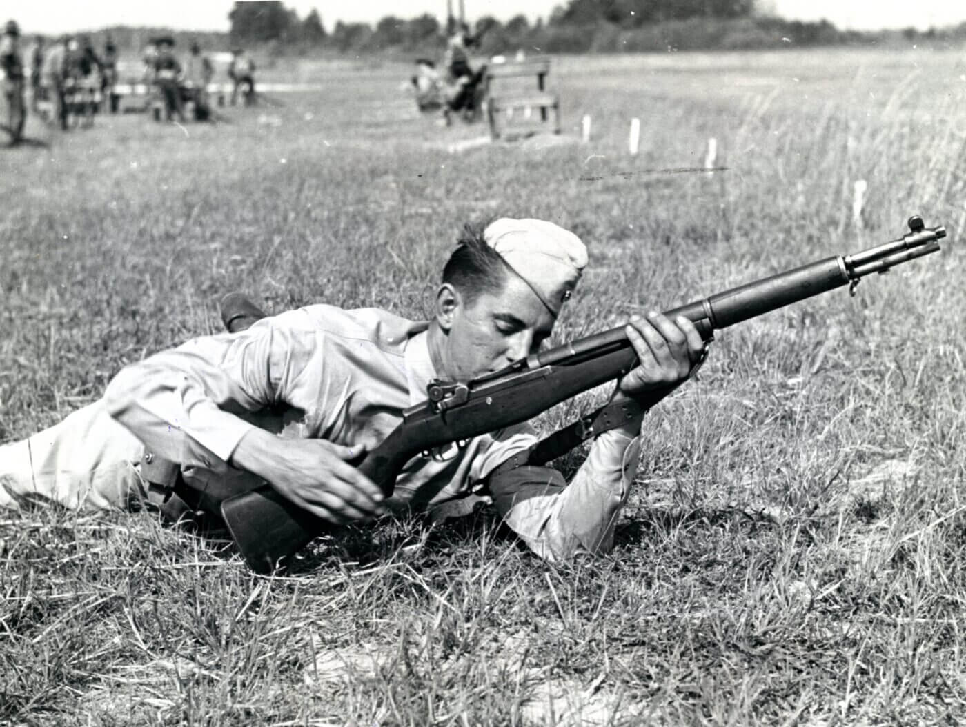 Soldier learning to use M1 Garand gas trap model