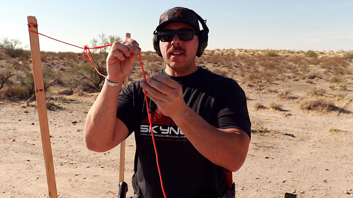 Man demonstrating string shooting drill results