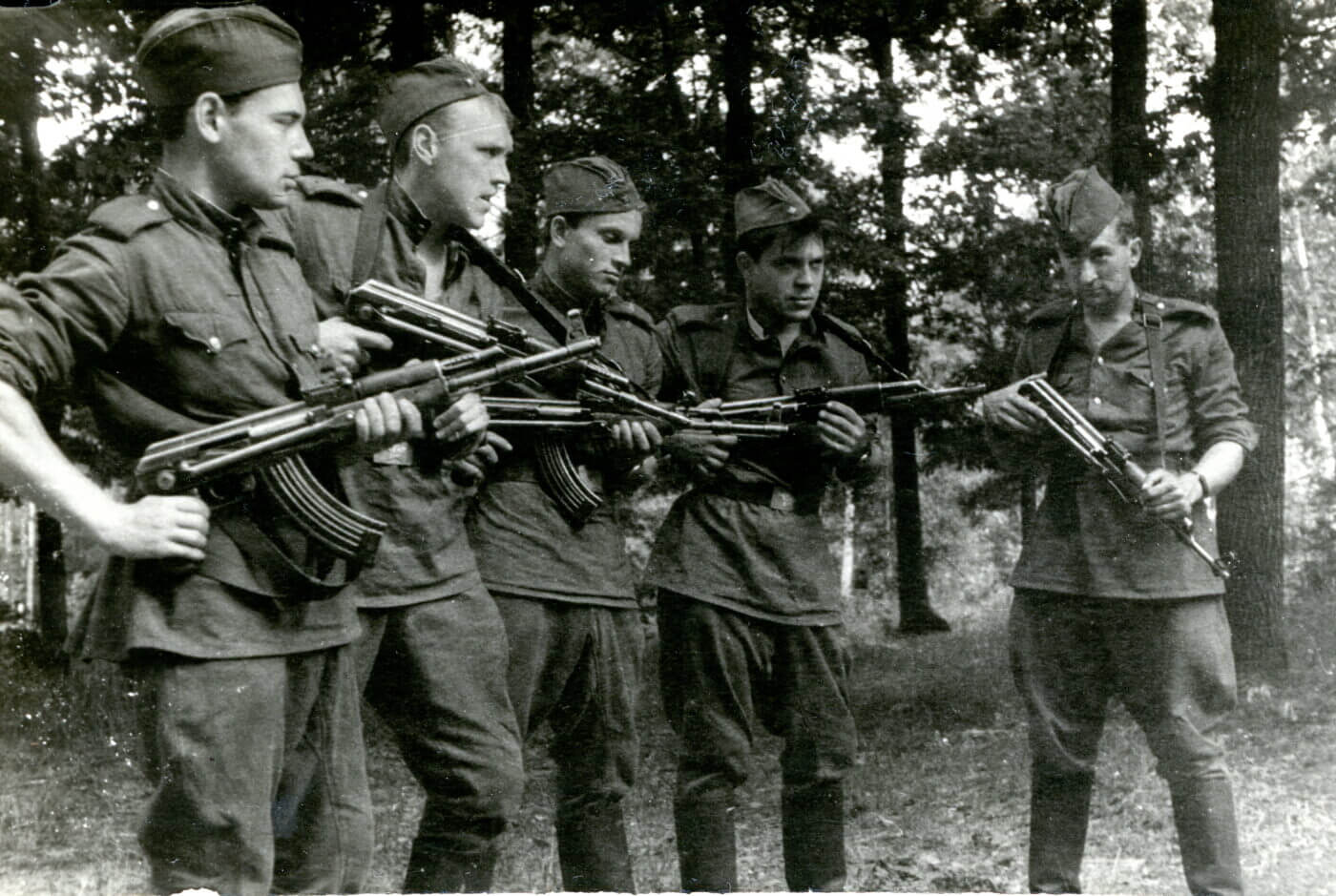Soviet soldiers with AK-47 rifles