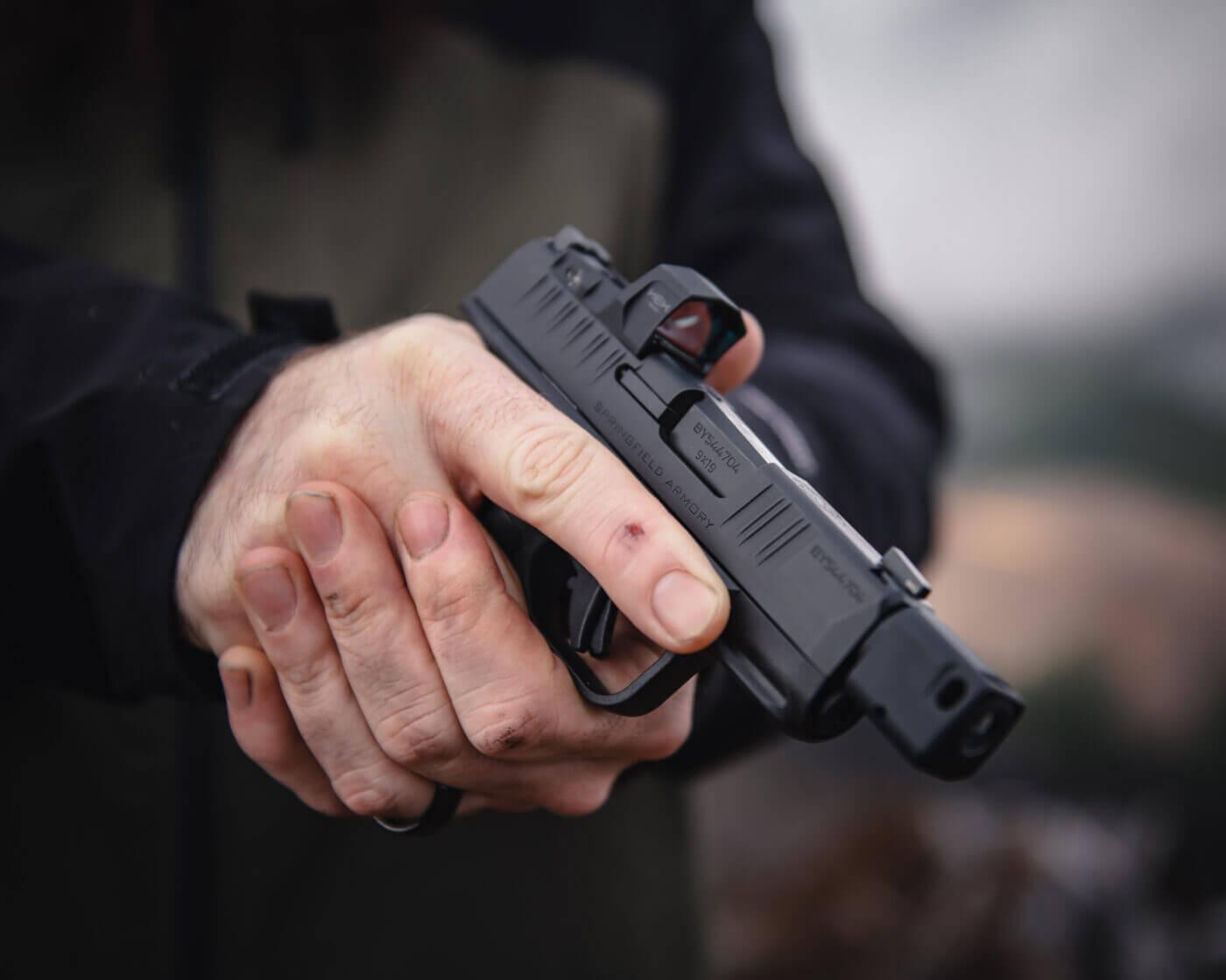 Compact red dot on a small handgun
