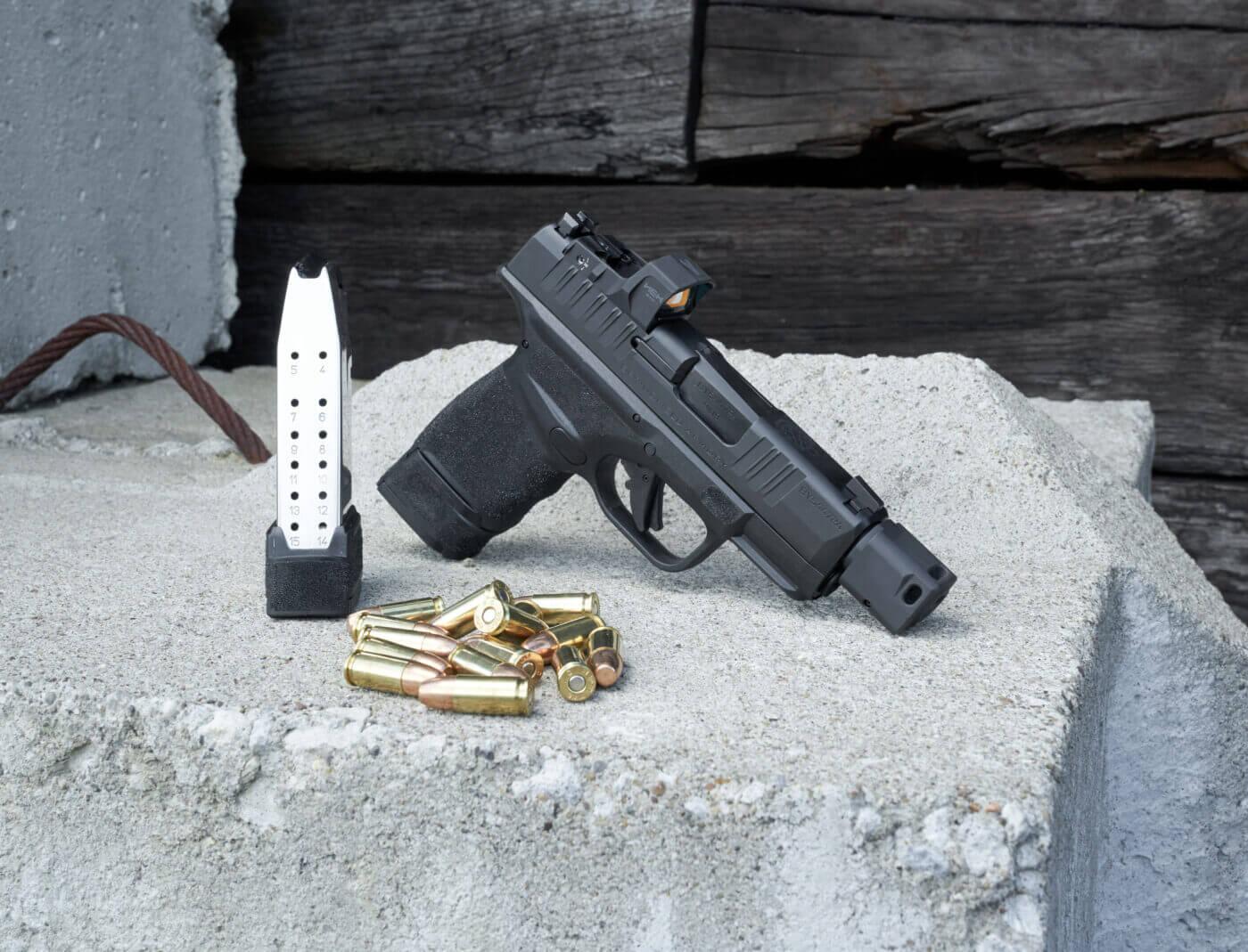 Springfield Hellcat pistol with 15-round magazine and ammo