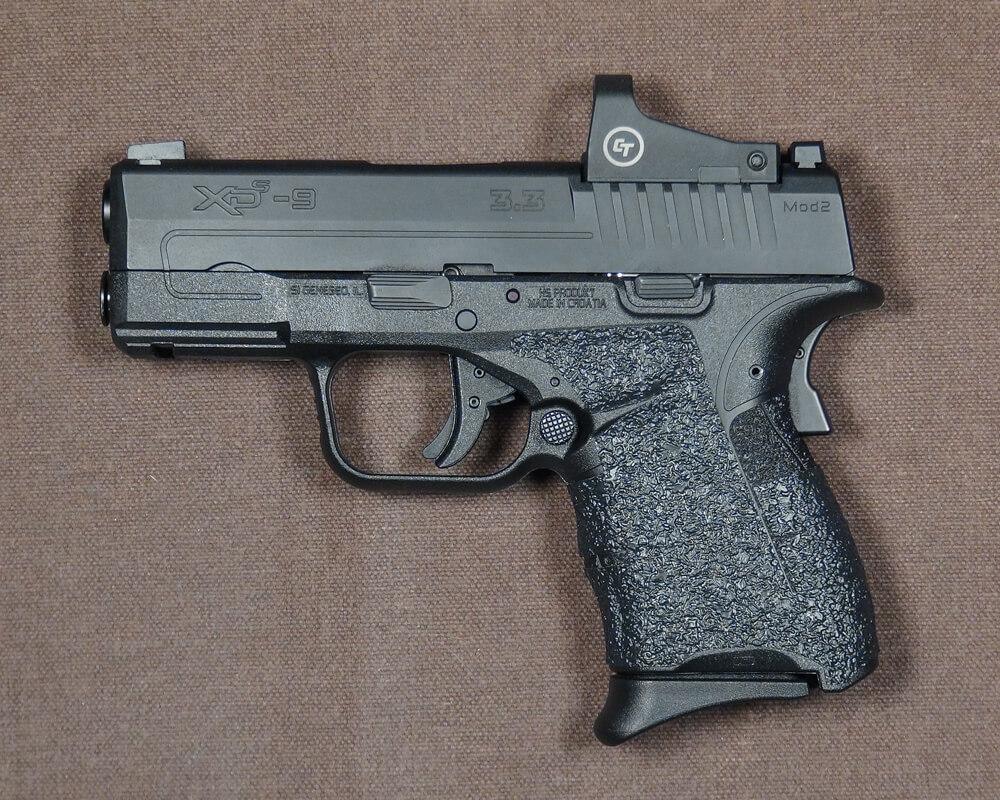 Completed installation of Talon Grips on Springfield XD-S pistol