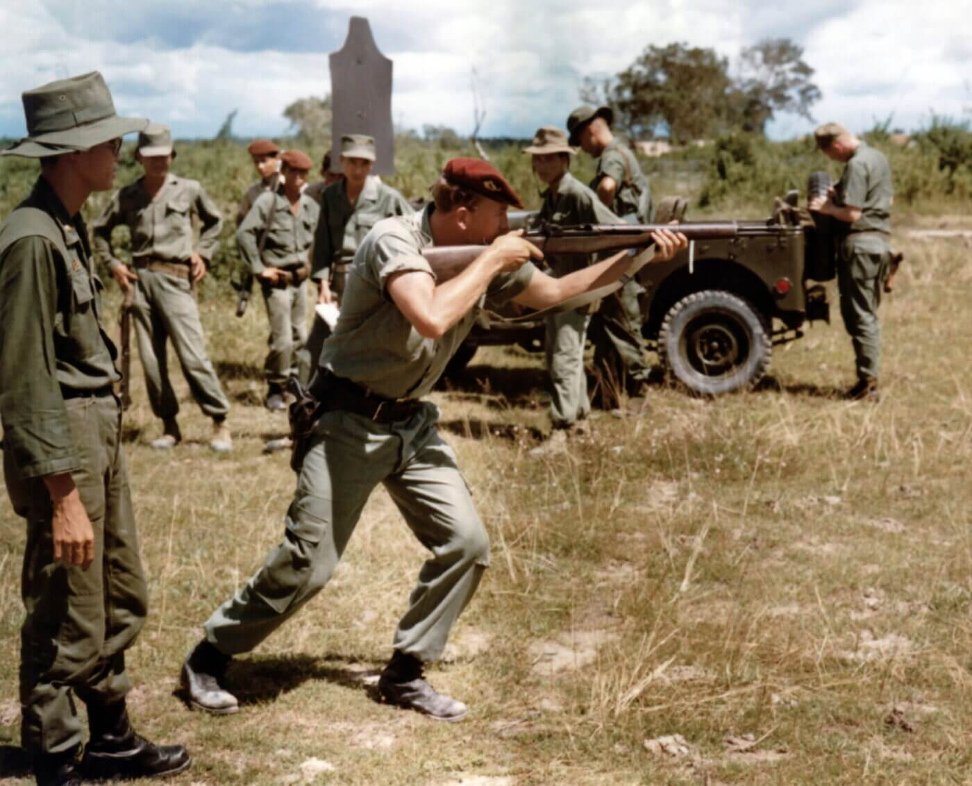 U.S. Ranger trains ARVN troops in Vietnam with M1