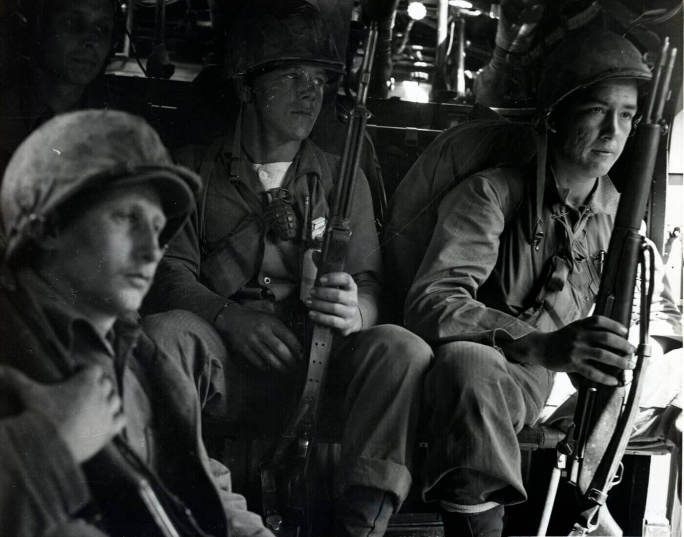 Marines in Helicopter with M1 Garand rifle in Korean War
