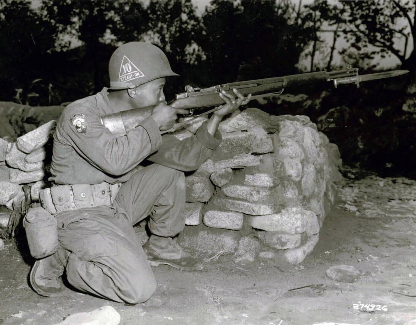 Filipino soldier with M1 Garand in Korean War