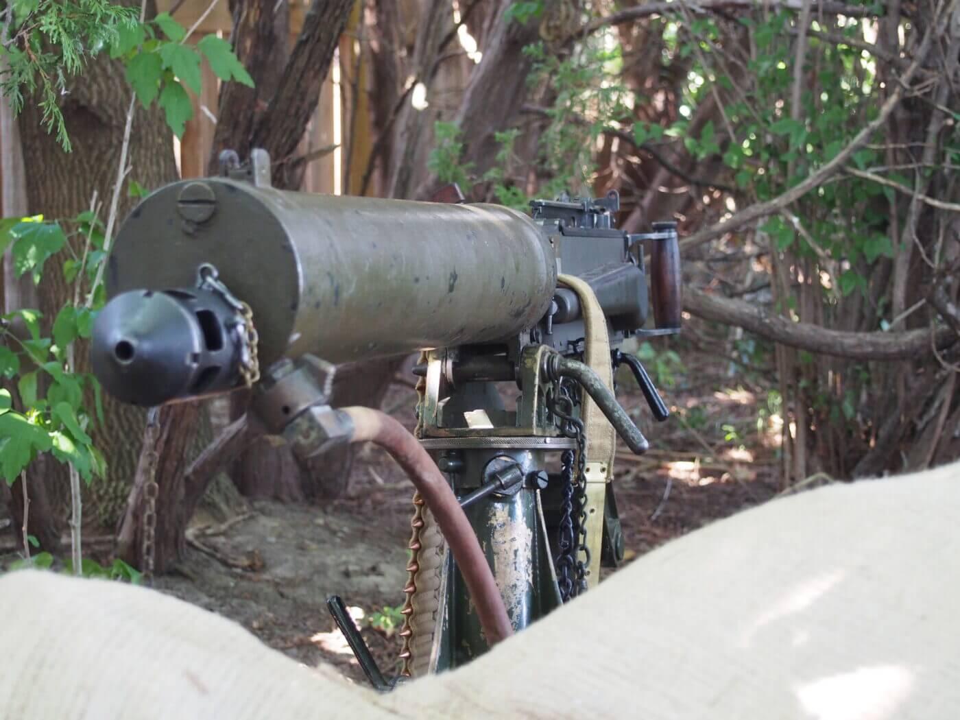 Front view of Vickers machine gun