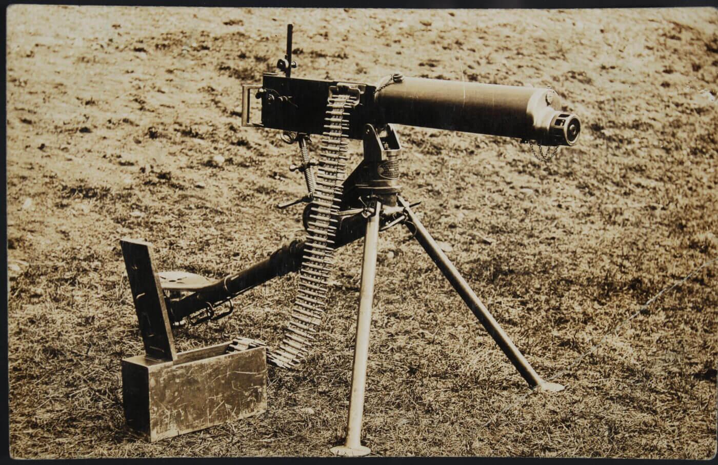 Vickers machine gun on tripod