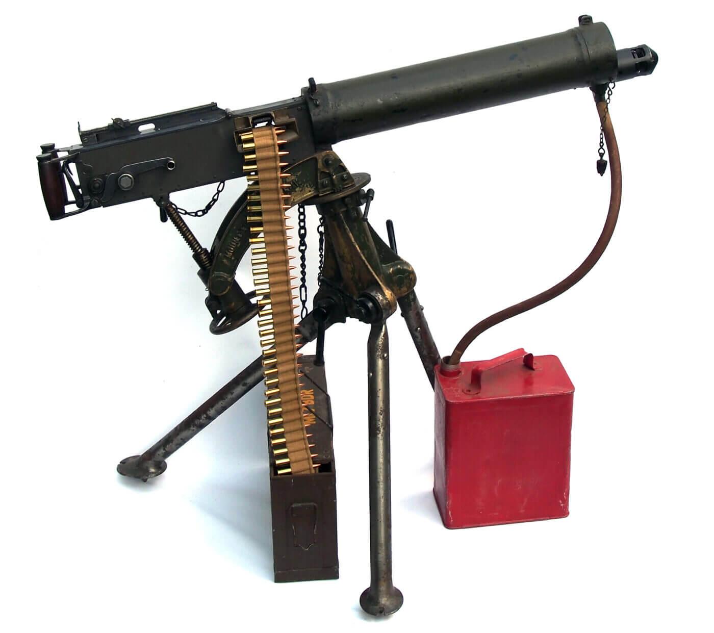 Vickers machine gun on white background