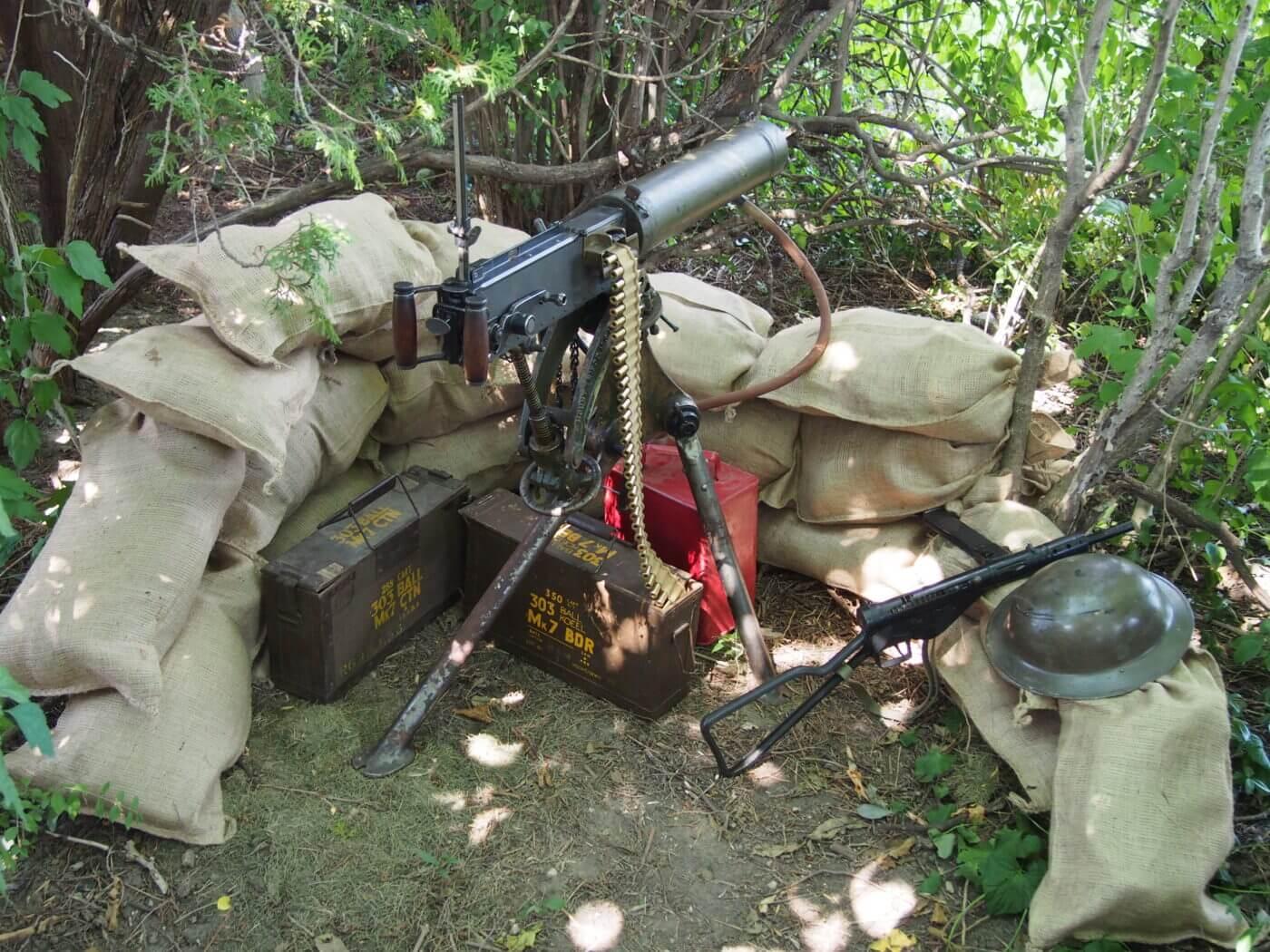 Vickers machine gun setup
