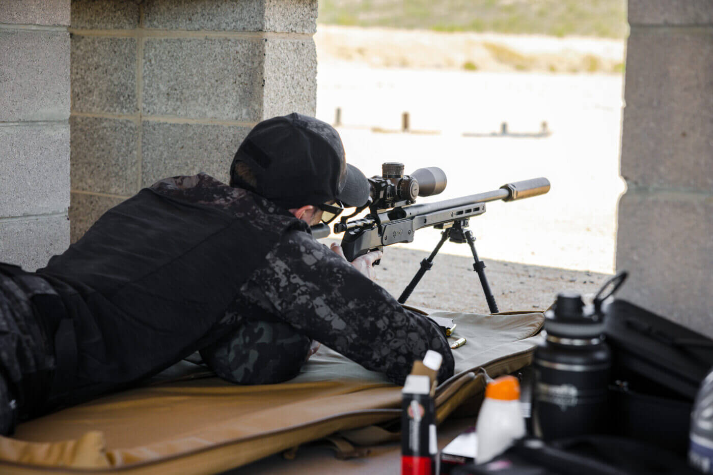 Long range precision shooting from prone position