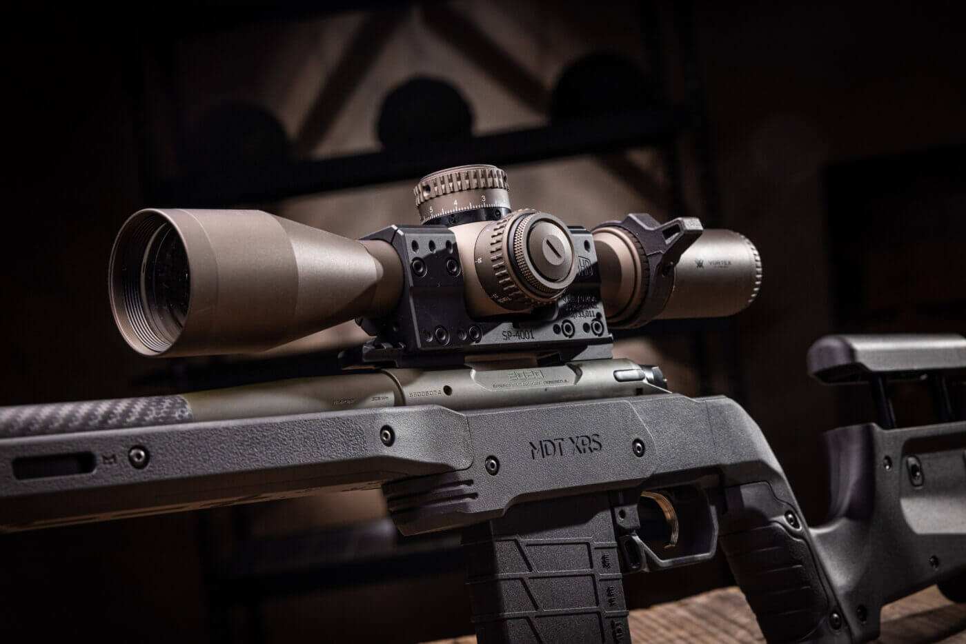 Virtex scope mounted on Springfield Armory Model 2020 Waypoint rifle in a MDT chassis