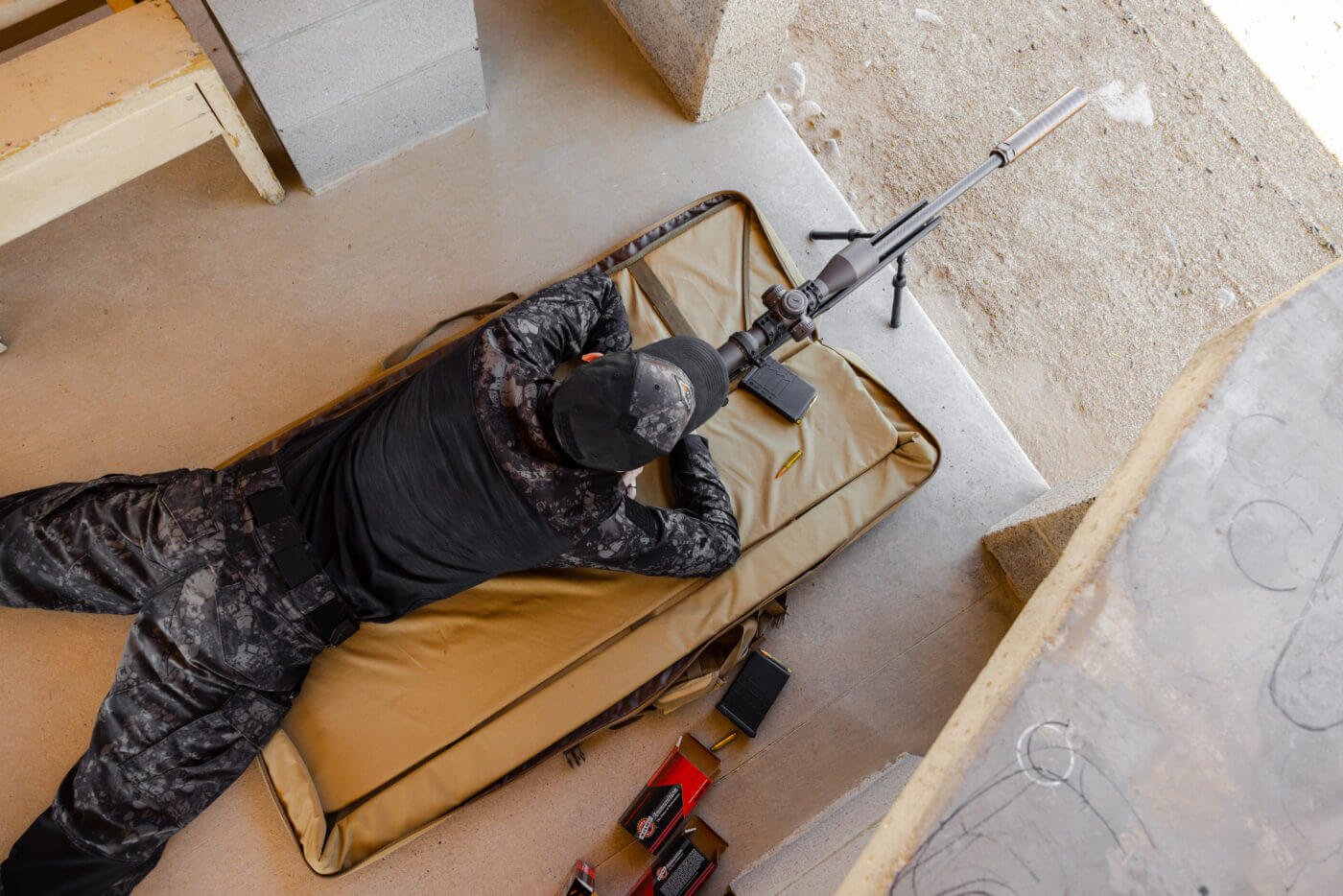 Shooting rifle from prone position with cold bore