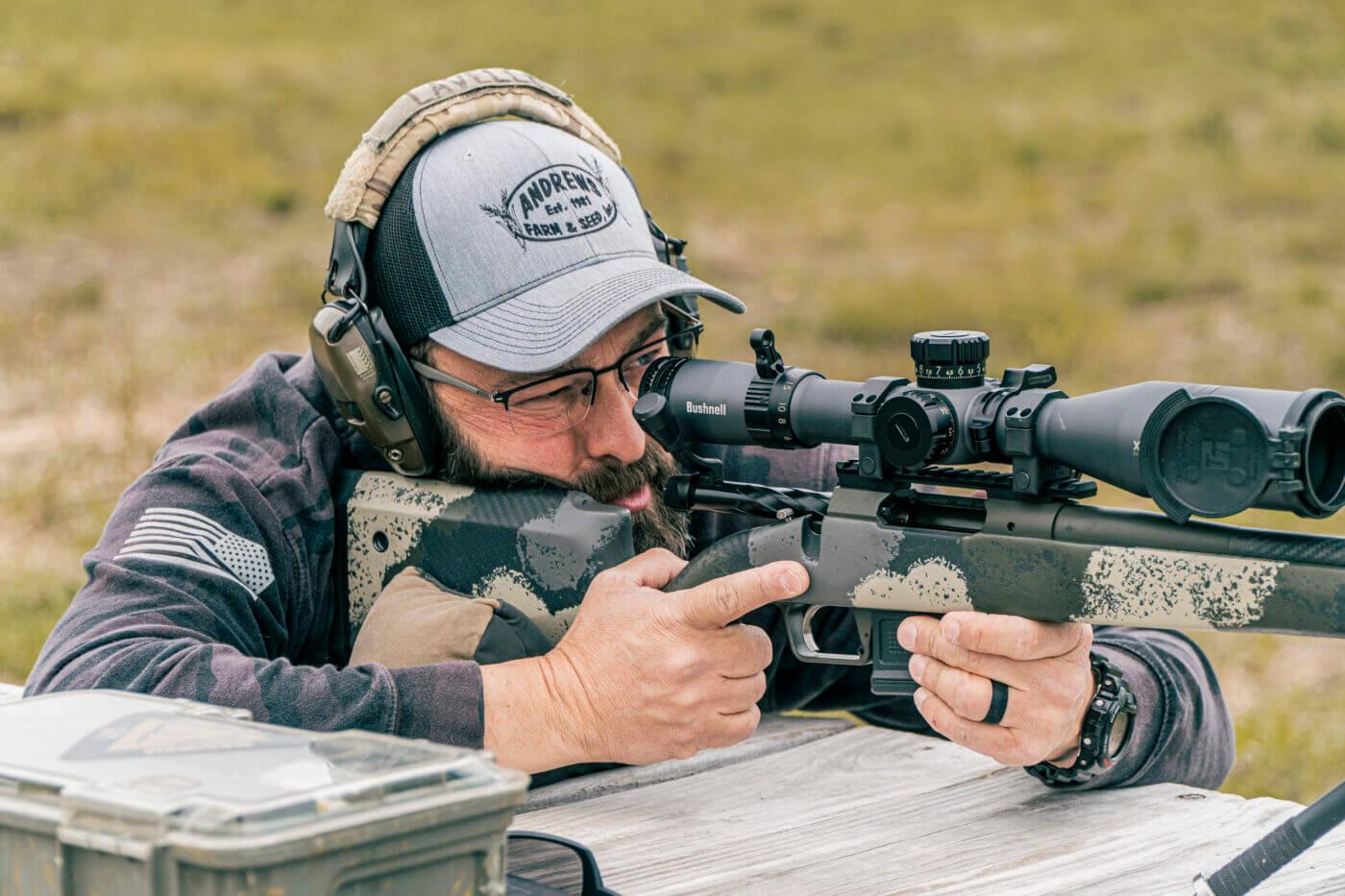 Man shooting rifle with good eye relief