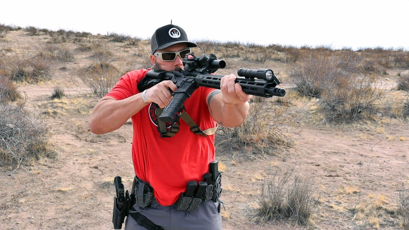 Man on range testing the Rave 140 trigger