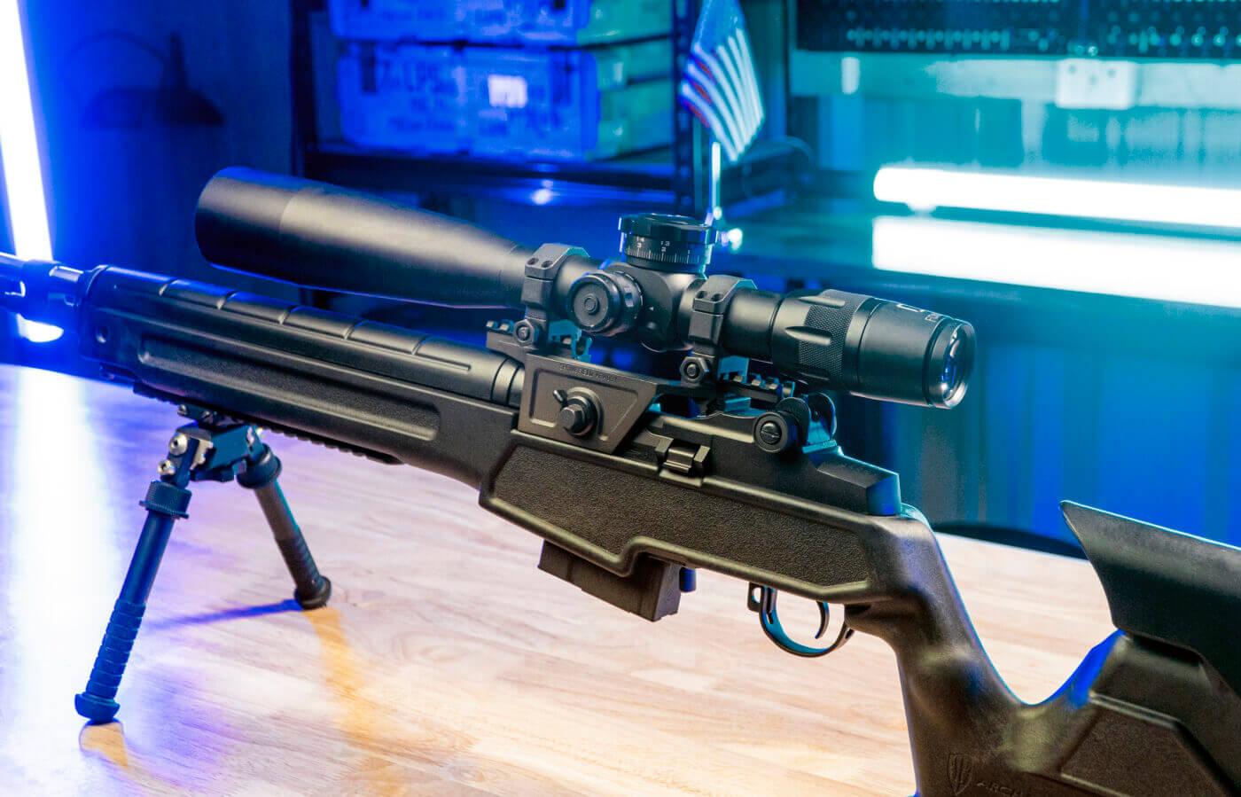 Scope mounted on M1A rifle