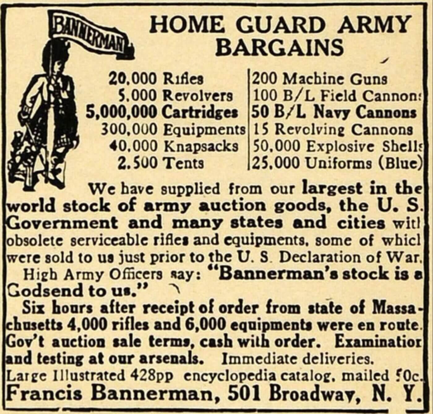 Bannerman milsurp advertisement